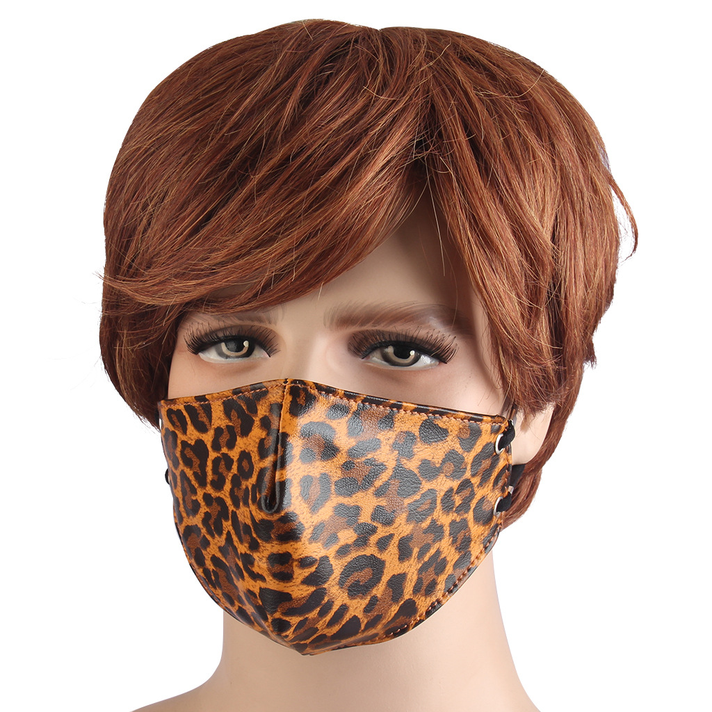2020 New Adult Mouth Face Outdoor Riding Mask Creative Leopard Print Leather Anti-Fog Anti-Dust Keep Warm Masks