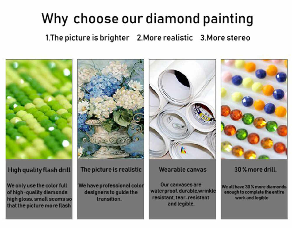 5D DIY Diamond painting Flower Koi fish Cross Stitch Picture Home Decor
