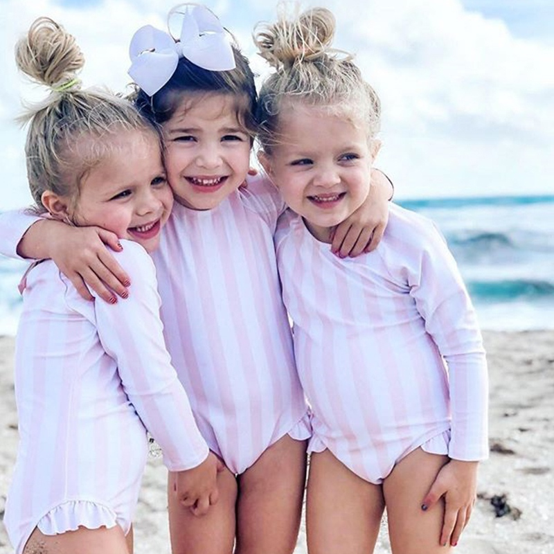 Summer Baby Girls Swimwear Girls Swimsuit One Piece Children Beachwear Striped Bathing Suits