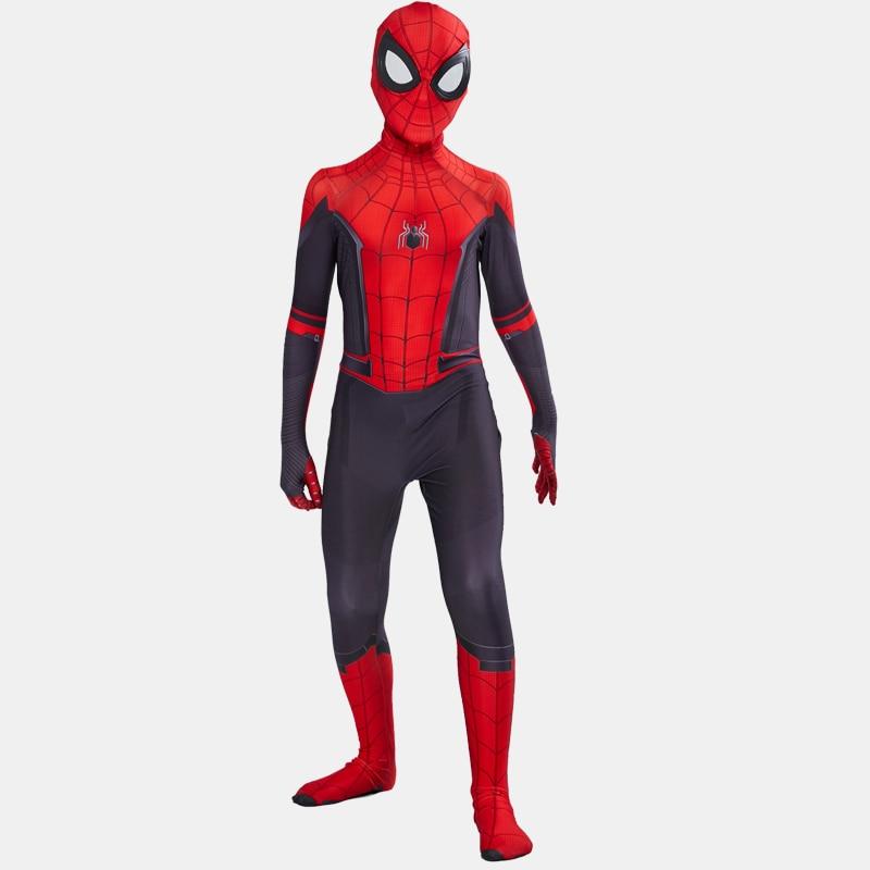 Kids Adult Spider Man Far From Home Peter Parker Cosplay Costume Zentai Spiderman Superhero Bodysuit Jumpsuits Halloween Costume