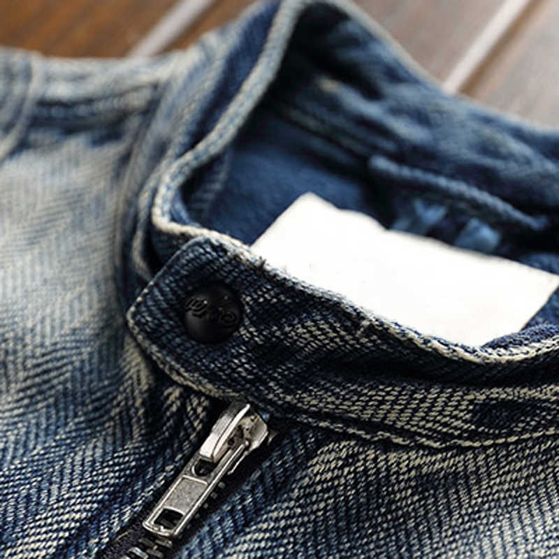 Vintage Stretch Biker męskie kurtki jeansowe XXXL Plus płaszcze w stylu europejskim motocyklowe męskie jeansowa kurtka mężczyzna Streetwear A760
