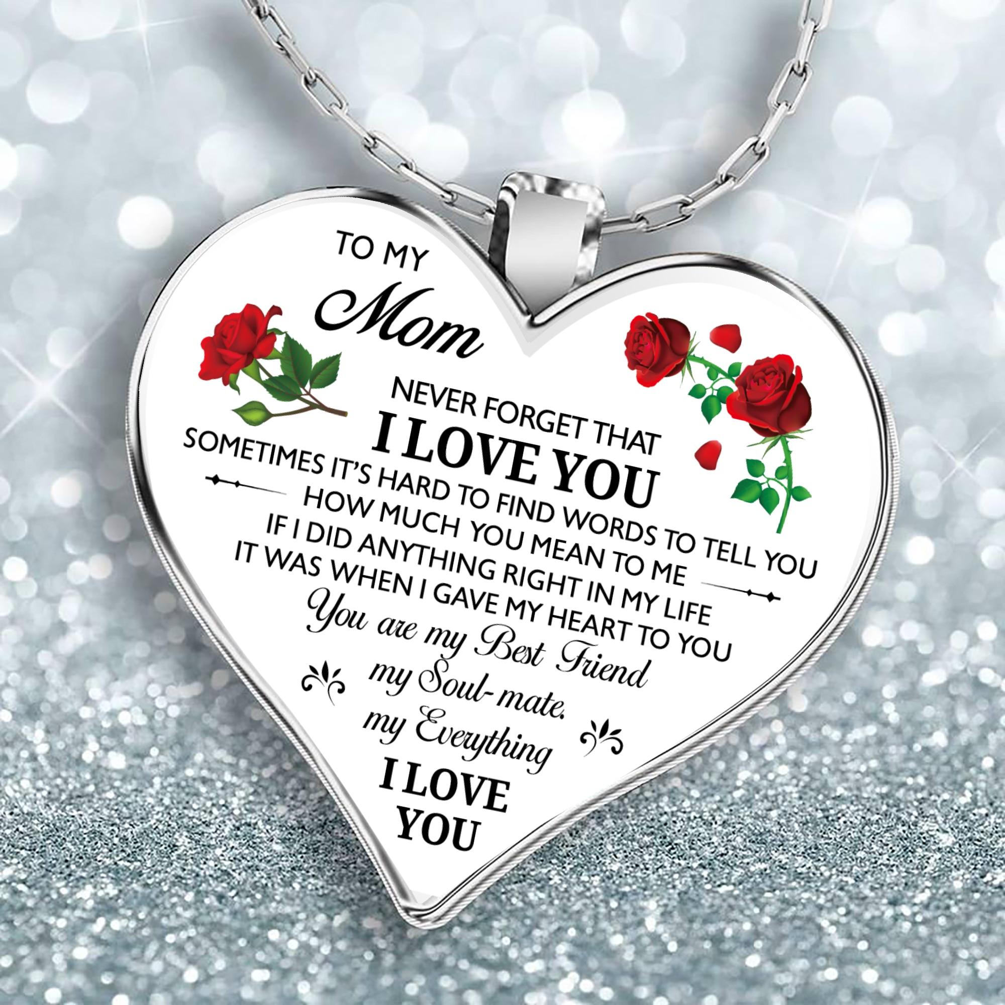 Ожерелье с сердцем для моей мамы, дочери, серебряная цепочка, ожерелья для женщин, подарок на день матери