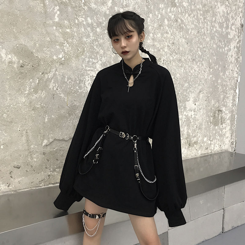 Harajuku Sweatshirt Solid Girls Buckle Sweatshirt Chain Spring Autumn Lady Sweatshirts Casual Loose Stand Collar Women  Pullover