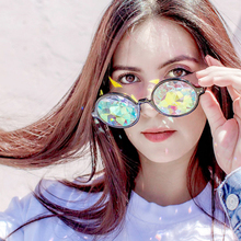 Round Frame Kaleidoscope Sunglasses Men Women  Rave Festival Party Queen Gifts Psychedelic Prism Diffracted Lens