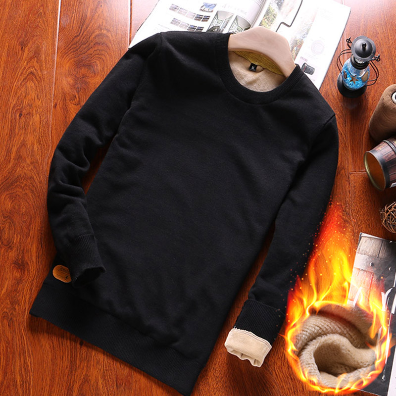 Men's Autumn Winter Long Sleeve Sweater Pullover 100% Cotton Knit Slim Fit Pure Color Wild Sweater Plus Velvet