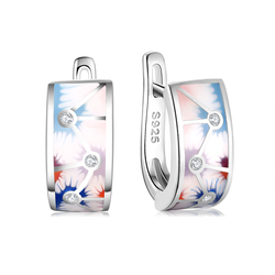 OGULEE High quality 925 Silver Earrings for Women Colorful Enamel Flower Geometric Connection Zircon Party Gifts Fine Jewelry