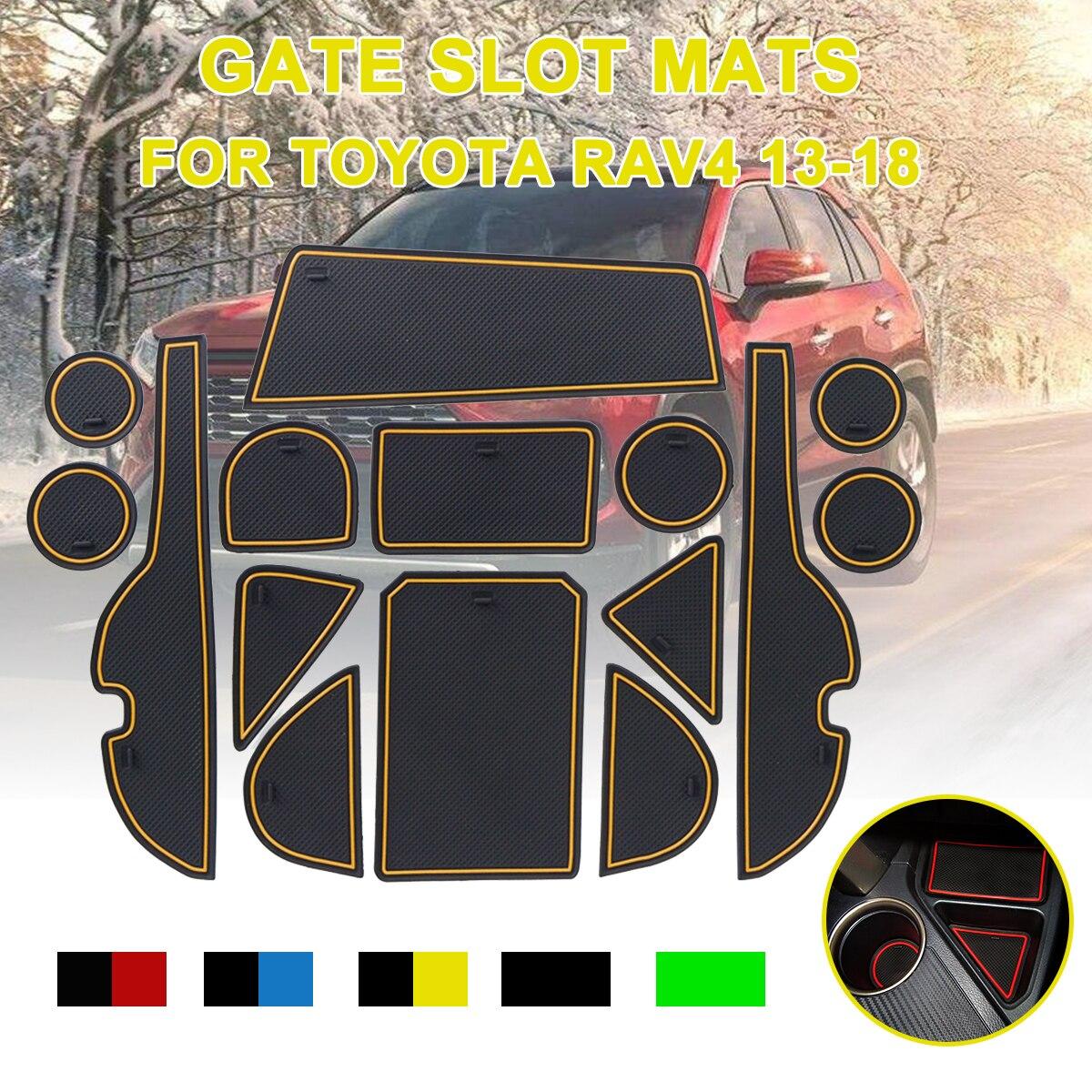 15pcs for Toyota RAV4 2013-2018 Anti-Slip Gate Slot Mat Rubber Coaster Accessories for RAV 4 2013 2014 2015 2016 2017 2018