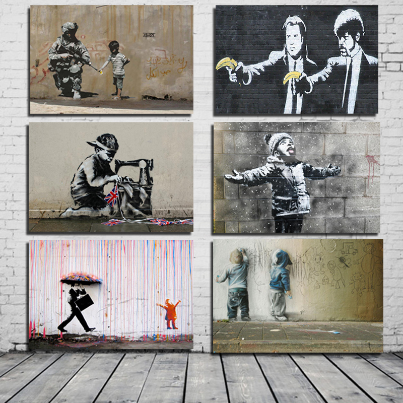 Banksy Classic Posters Canvas Painting Print Living Room Home Decoration Modern Wall Art Oil Painting Posters Pictures Artwork