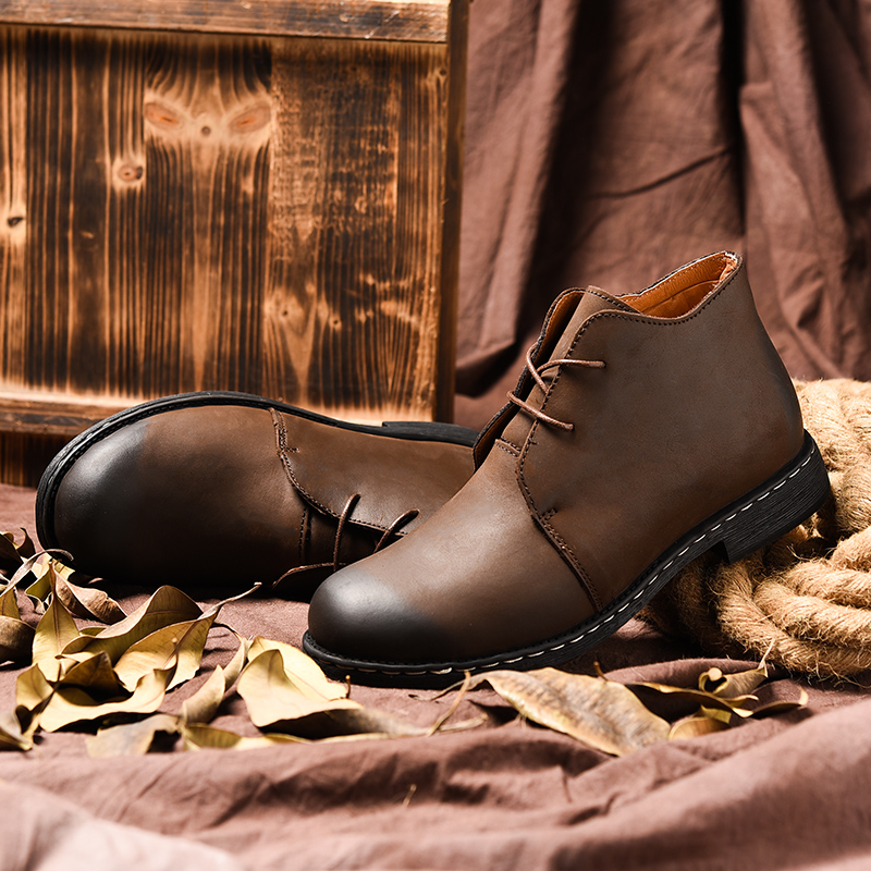 Handmade Men Boots Genuine Leather Men Snow Leather Boots WaterProof Work Safety Winter Ankle Boots Shoes