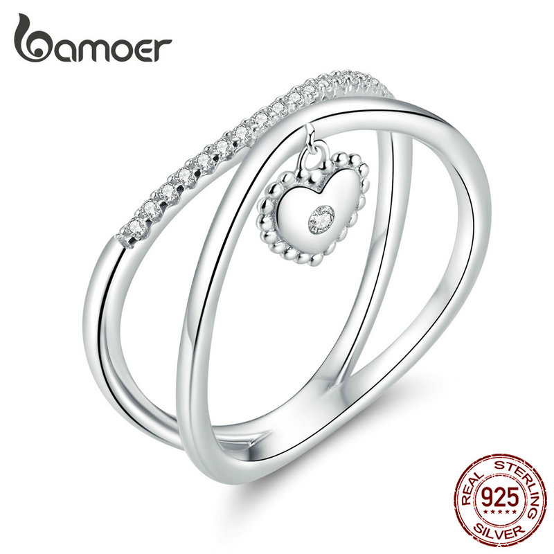 Bamoer Authentic 925 Sterling Silver Cross Heart Finger Rings For Women Wedding Engagement Statement Luxury Jewelry SCR613