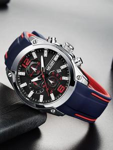 Спортивные мужские часы MEGIR, кварцевые наручные часы с синим силиконовым ремешком и секундомером