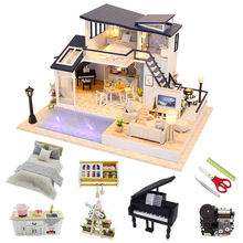 1:24 Miniature Dollhouse kit Wooden Roombox Big Villa Assemble Model Building Doll House Furniture Christmas Gift Toys For Boys