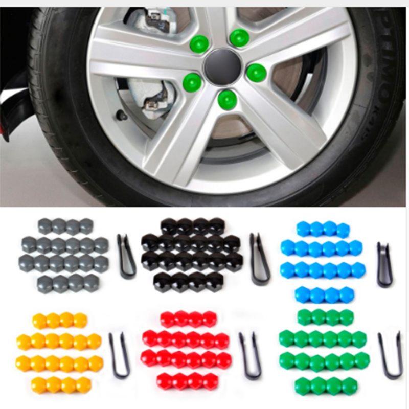 7mm 20Pcs/lot Wheel Lug Bolt Center Nut Covers Caps For  VW  For Audi For Skoda  For Seat with 17mm Hexagon Bolt