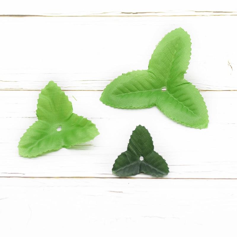 100 sztuk sztuczna roślina jedwab zielony liść sztuczne liście dla domu ślub robótki świąteczne dekoracje Garland DIY prezenty Box deco