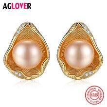 AGLOVER New 925 Silver Earring Gilt Shell Stud Earrings Natural Freshwater Pearl Earrings Pearl Luxury Jewelry Women Gift Party