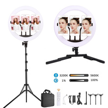14 cal LED Selfie lampa pierścieniowa piękno lampa nadaje się do ściemniania aparat telefon światło LED do kamery z statyw do makijażu wideo na żywo tatuaż