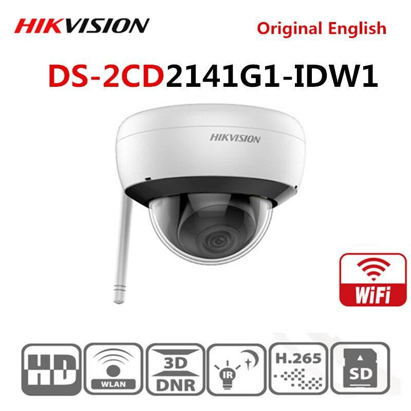 Hikvision międzynarodowa angielska wersja 4 MP WIFI IR stała sieć kamera kopułkowa DS-2CD2141G1-IDW1 obsługuje wbudowany mikrofon H.265 +
