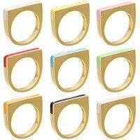 Shcool-Anillo de cobre con esmalte colorido bohemio para mujer, sortija apilable Simple de Color dorado, joyería fina al por mayor