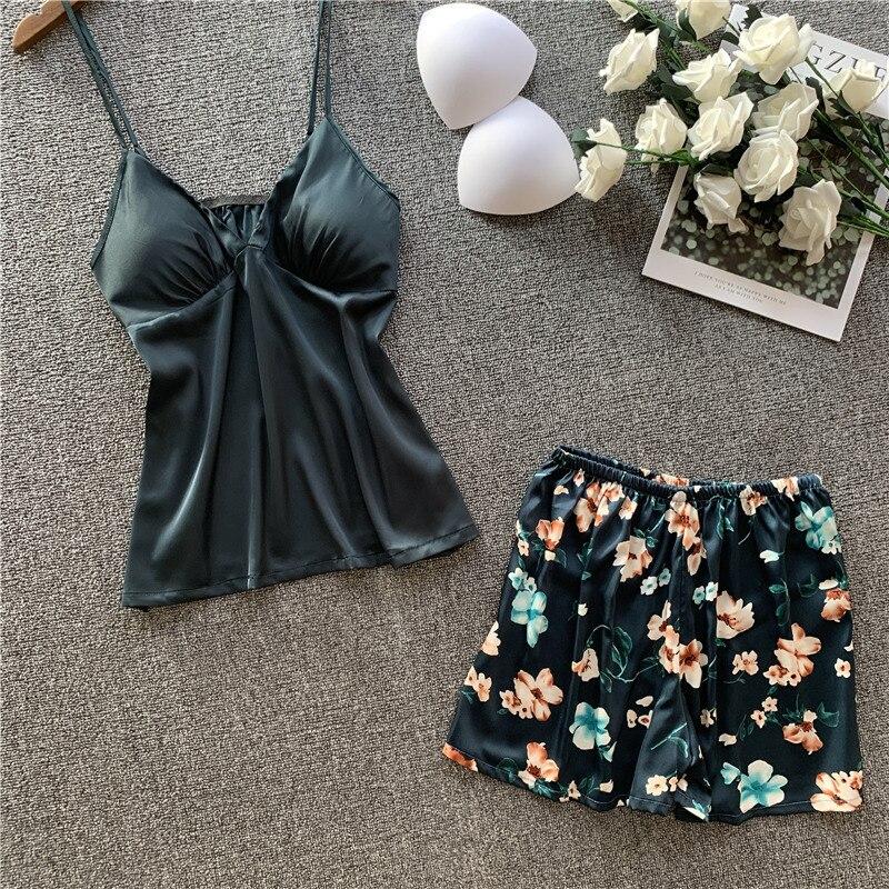 Spring New Printing Ice Silk Pajama Set Woman Imitate Real Silk Spaghetti Strap Shorts Pajamas Twinset