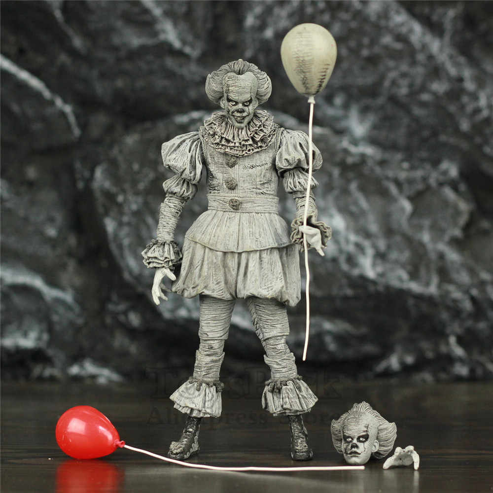 "SDCC 2019 Pennywise IT 에칭 7 ""2017 영화 액션 피규어 Stephen King IT 흑백 흑백 흑백 NECA Toys Doll"