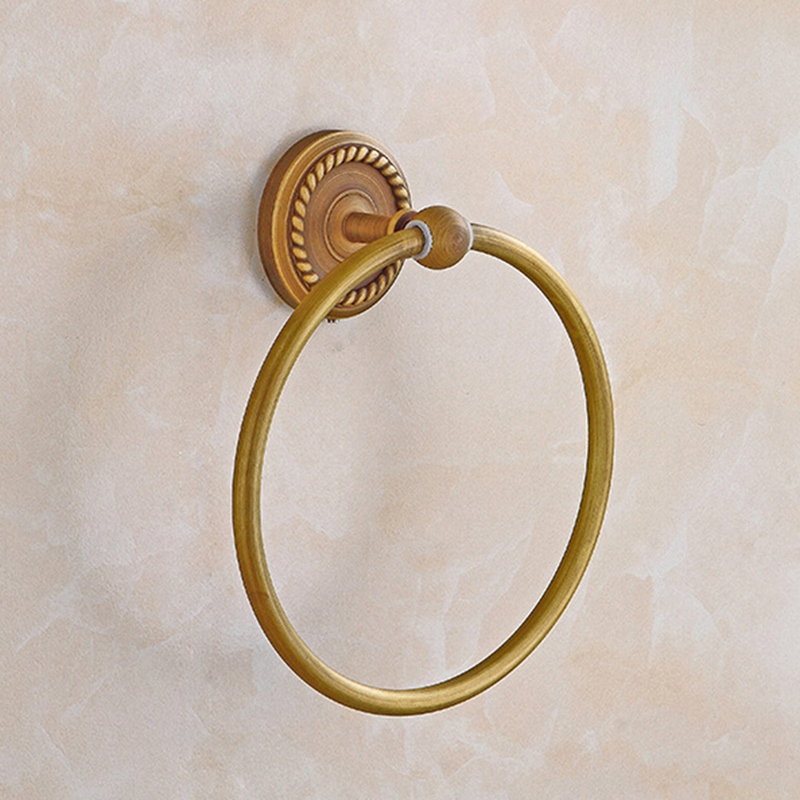 Bathroom Towel Holder Ring Wall-Mounted Round Antique Brass Towel Ring Towel Rack