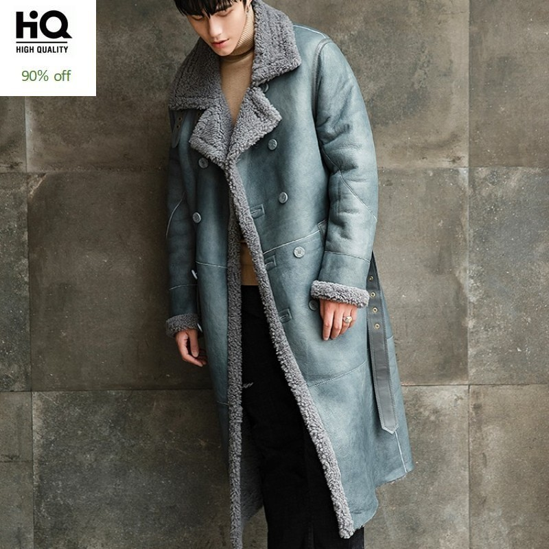 Autumn Winter Shearling Australia Wool Long Coat Men Brand Fashion Double Breasted Loose Real Fur Cashmere Overcoat Plus Size