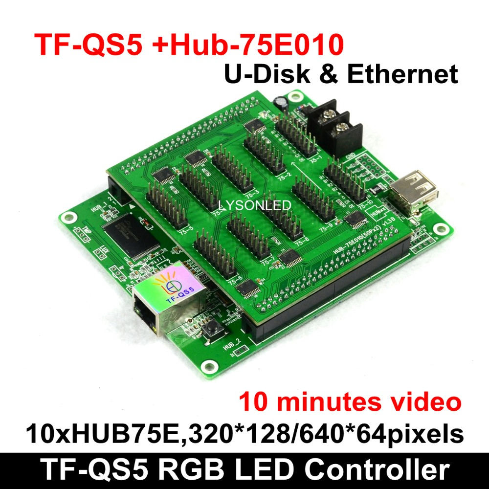 Beautiful P4 P5 P6 LED Video Card TF-QS5 320x128Pixels Gigabit Ethernet+U-disk Support Any Scan Mode 10 Minutes Video Capacity