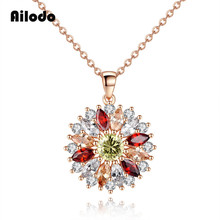 Ailodo Luxury Colorful CZ Sunflower Pendant Necklace Women Fashion Party Wedding Statement Collar Bijoux Gift LD393