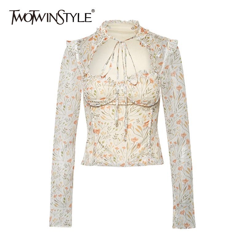TWOTWINSTYLE Casual Print Women Shirts O Neck Long Sleeve Patchwork Ruffles Hit Color Lace Up Bow Hollow Out Blouses Female Tide