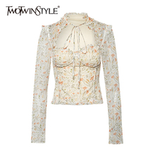 TWOTWINSTYLE Casual Print Women Shirts O Neck Long Sleeve Patchwork Ruffles Hit