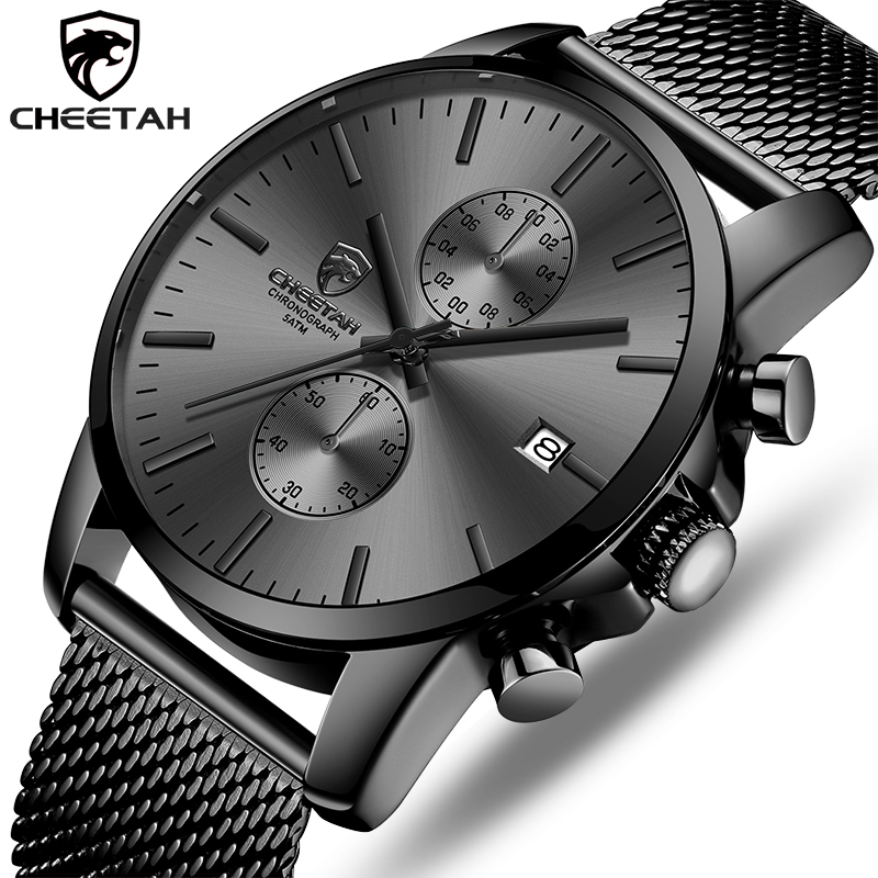 CHEETAH Watch Men Quartz Watches Stainless Steel Mesh Waterproof Mens Wristwatch Sports Chronograph Male Clock Relogio Masculino