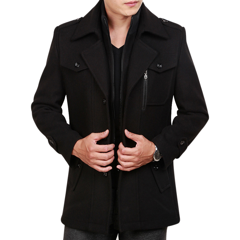 fleece jacket men wool coat with pockets winter cashmere Standing collar gray black lapel men's winter coat Plus Size