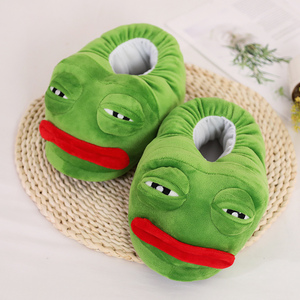 Image 5 - 1 pc very bad Sad frog slipper green frog cotton slippers frog cartoon cotton plush slippers home indoor green shoes