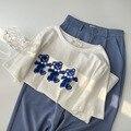 Женская футболка с коротким рукавом, Новинка лета 2021, женская белая свободная Удлиненная рубашка в Корейском стиле с медведем, модный топ с ...