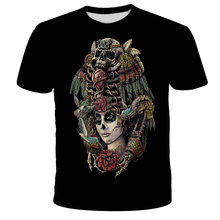 Camiseta 3D para niños, camiseta de calavera a la moda, Top ajustado con cuello redondo, Camiseta corta para niños, ropa de bebé, camiseta 2021