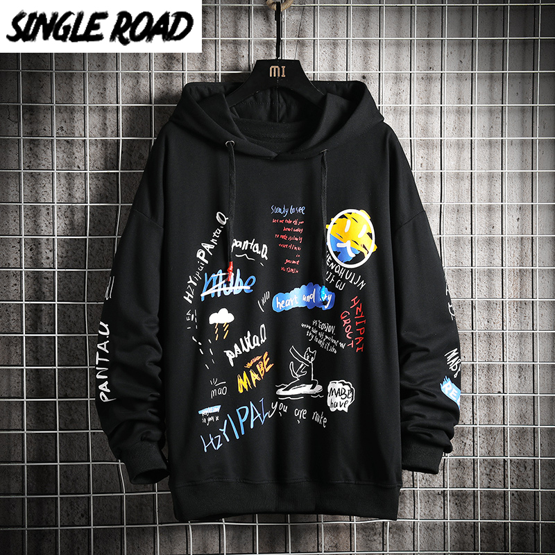 SingleRoad Oversized Men's Hoodies Men Hip Hop Anime Harajuku Japanese Streetwear Black Hoodie Men Sweatshirts Sweatshirt Male