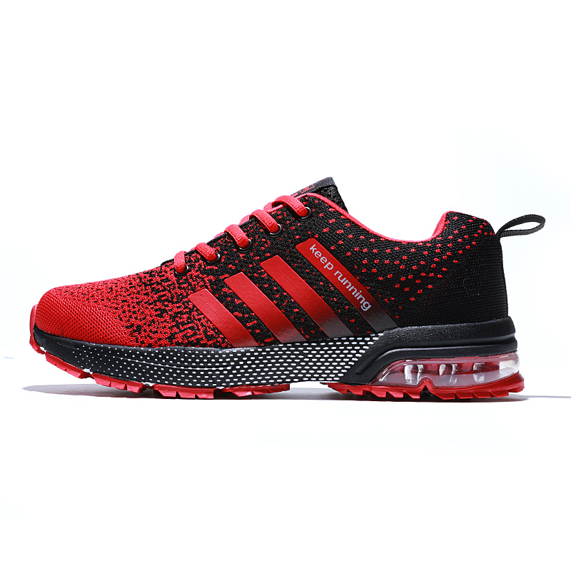 Red Flyknit Athletic Shoes Women Air Running Shoes Breathable Lightweight Keep Running Women Sport Shoes Air Sole Sneakers Mujer