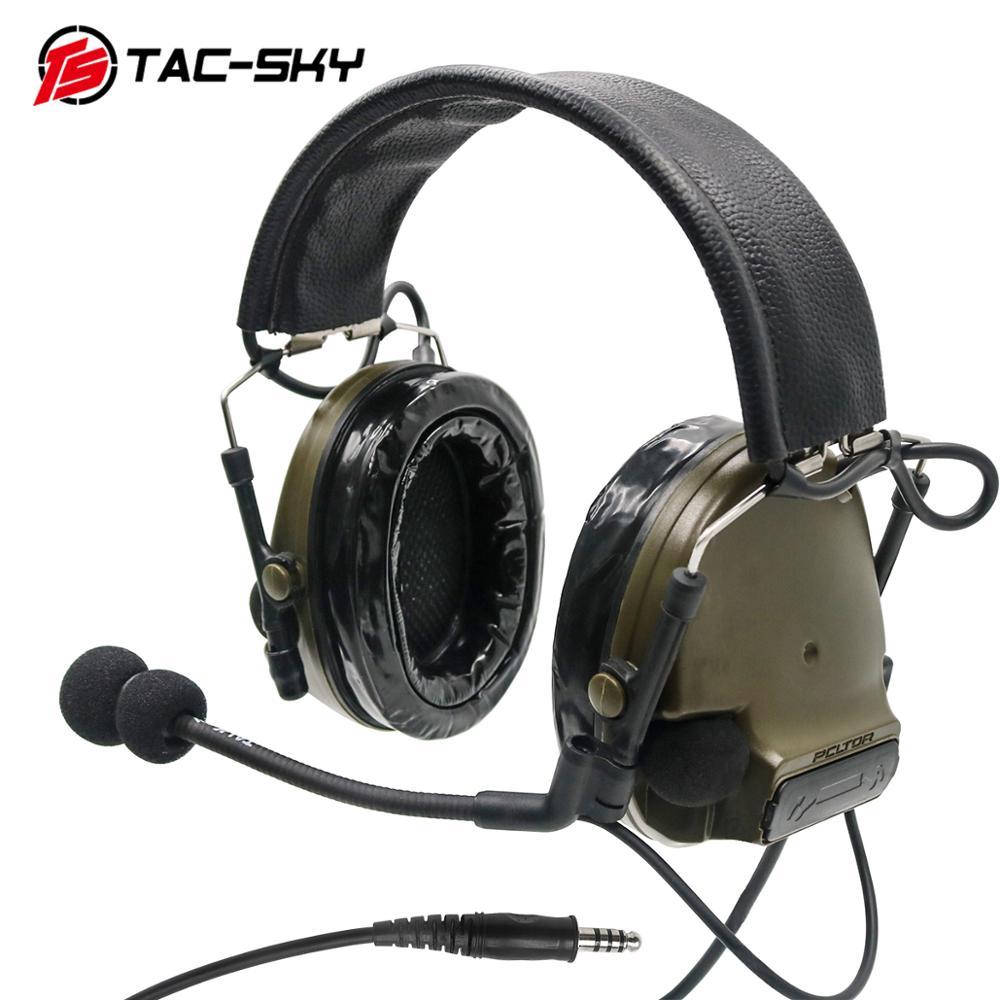 COMTAC III TAC-SKYcomtac Iii Silicone Earmuffs Electronic Noise Reduction Pickup Military Tactical Interphone Shooting HeadsetFG