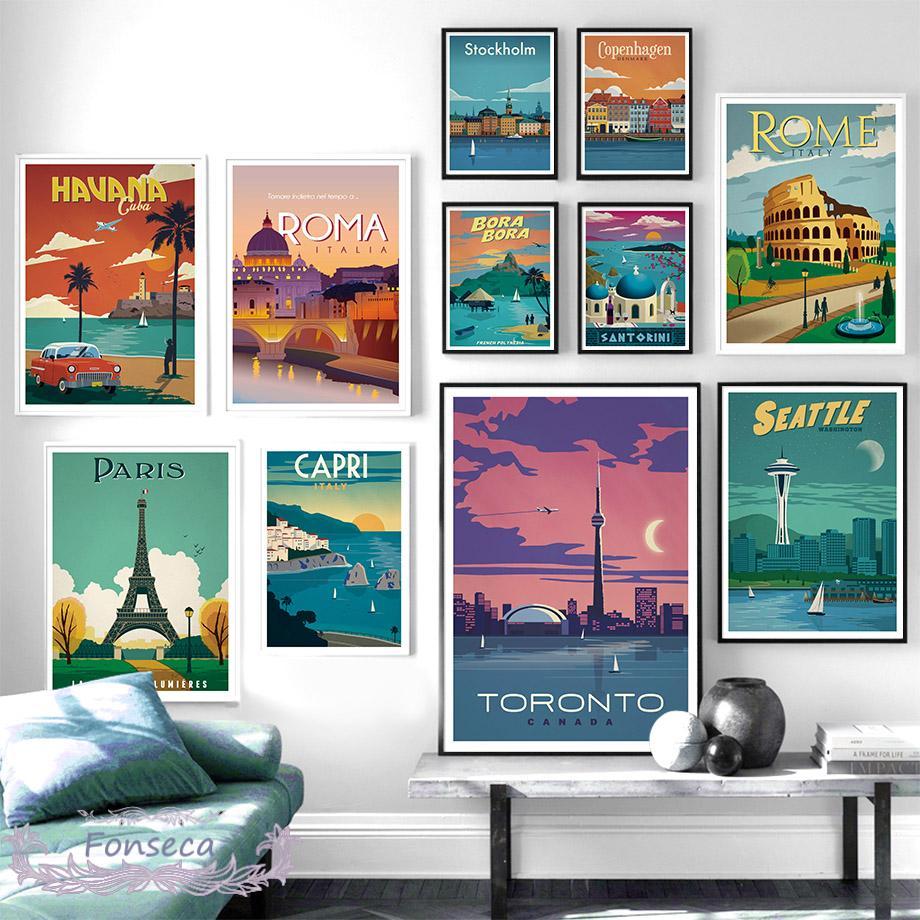 Винтажный постер с изображением французского, итальянского, Куба, Санторини, известного города, пейзажа, настенная живопись на холсте, скан...