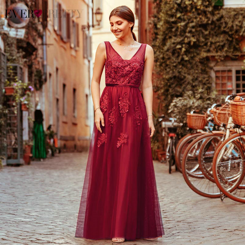 Burgundy Prom Dresses Long Ever Pretty Beaded A-Line V-Neck Sleeveless Appliques Tulle Formal Party Gowns Vestido De Festa 2020