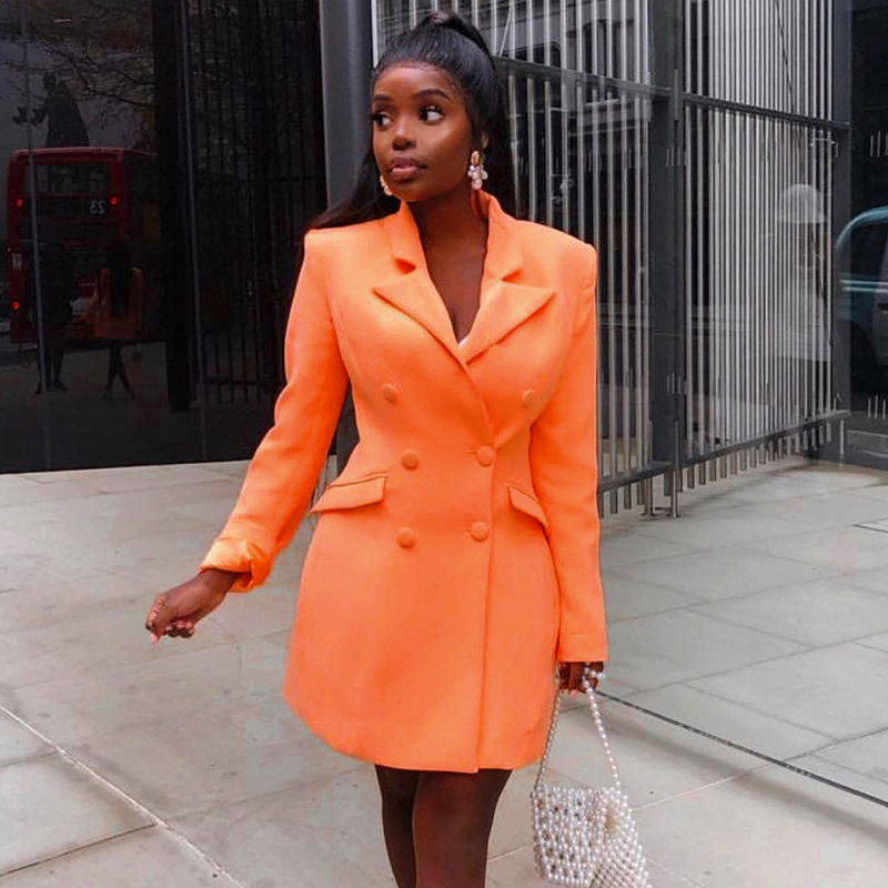 2020 New Spring And Autumn Women Slim  Coats Orange Deep V-Neck Double Breasted Coat Long Sleeve Solid Female Fashion Club Coat