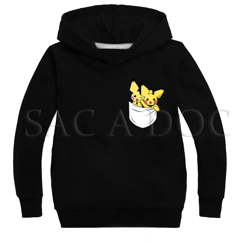 2019 New Printed Pokemon Children Clothes Fashion Hoodies Boys Girls Funny Sweatshirts Spring Autumn Kids Casual Pullovers Tops image