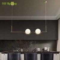 Two Glass balls LED Pendant Lamp Gold Metal Living room Restaurant Bar Hanglamp Cable Adjustable Loft LED Chandeliers 110 260V