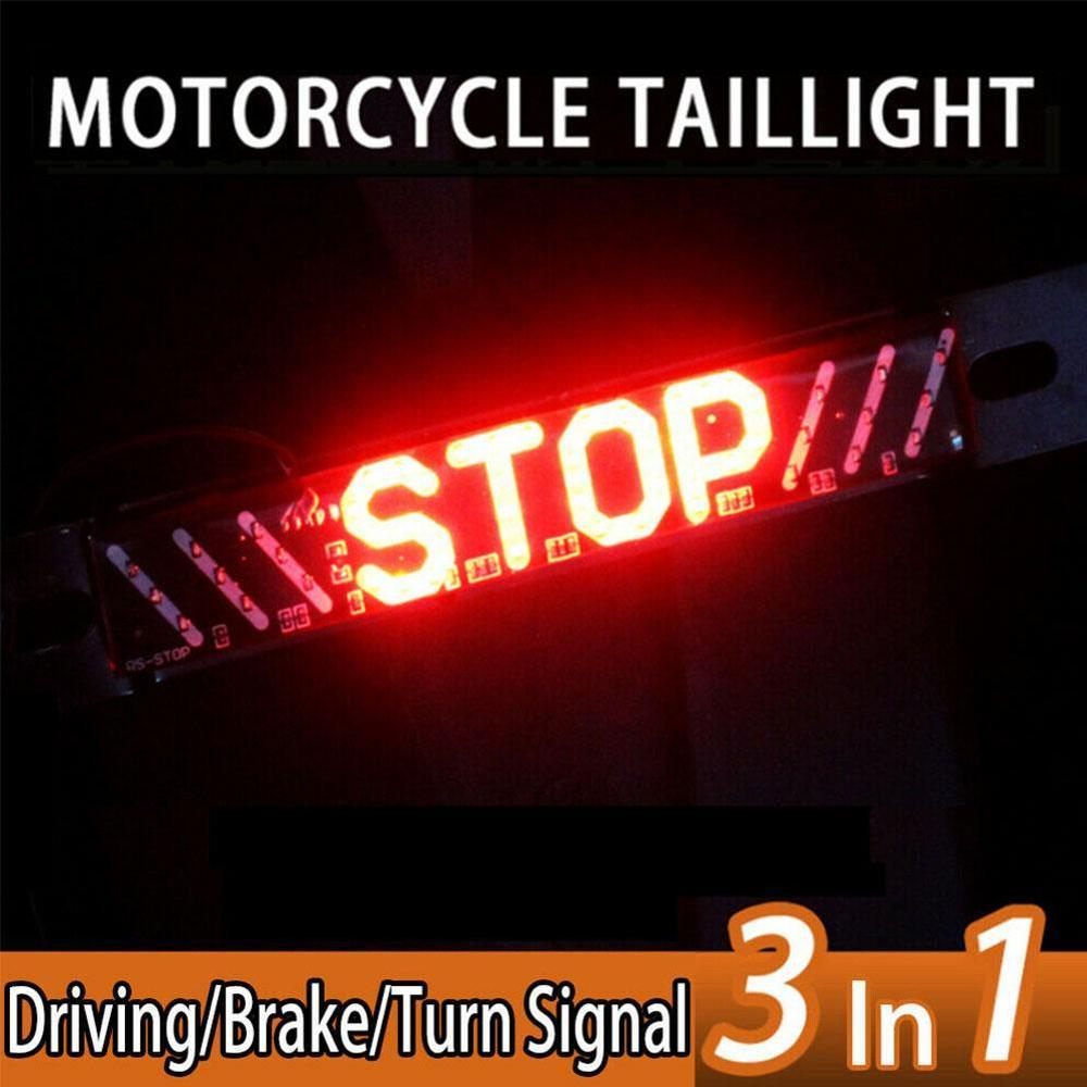 3 In 1Universal LED Motorcycle Stripe Stop Lamp Turning Left/right Waterproof Rear Tail Turn Signal License Plate Light DRL Lamp