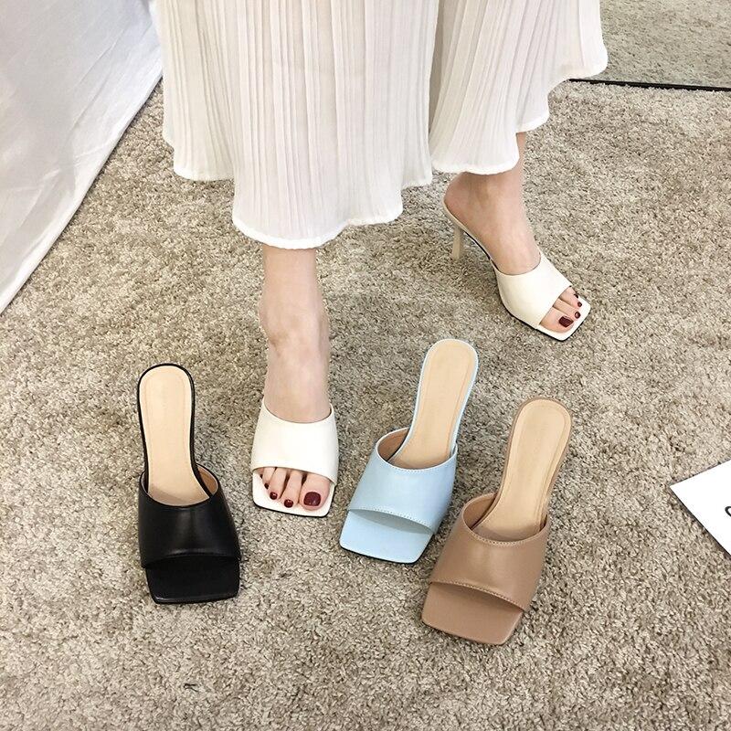 Women's Shoes Slippers 2020 Summer New Fashion Fine Heel Open Toe Temperament High Heel Sandals