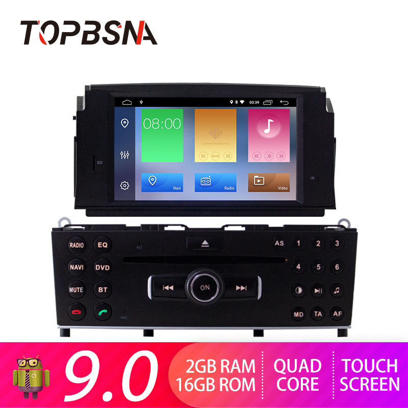 TOPBSNA 1 Din Android 9.0 Car DVD Player For Mercedes Benz C200 C180 <font><b>W204</b></font> 2007 2008 2009 2010 Car <font><b>Radio</b></font> Stereo WIFI headunit RDS image