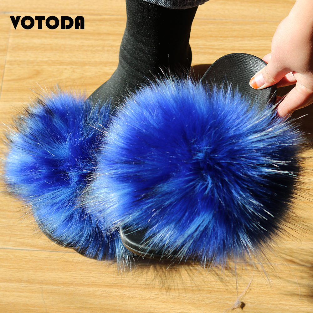 Summer Women Furry Slippers Faux Fur Slipper Flat Plush Sandals Female Cute Fluffy House Shoes Flip Flop Ladies Fox Fur Slides