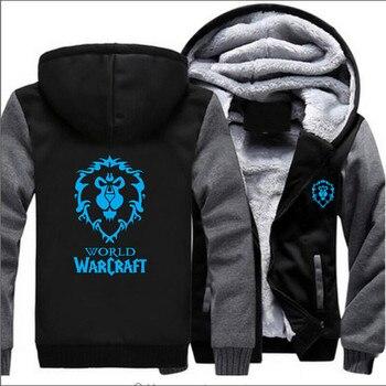 2019 gra Dota 2 WOW ALLIANCE bluzy zagęścić kurtki z suwakiem sweter zimowy płaszcze męskie wełniane dla mężczyzn wkładka z polaru Unisex bluzy