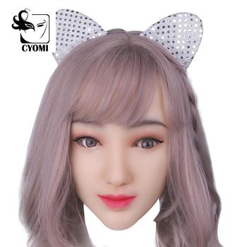 CYOMI Handmade Makeup Female Head Mask Soft Silicone Realistic Mask Crossdress Cosplay Mask Transgender Halloween Mask 1G  - buy with discount