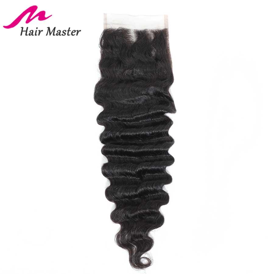 Hair Master Brazilian Loose Deep Wave Closure Remy Closure 4x4 Nature Color 8 - 22 Inch Human Hair Lace Closure